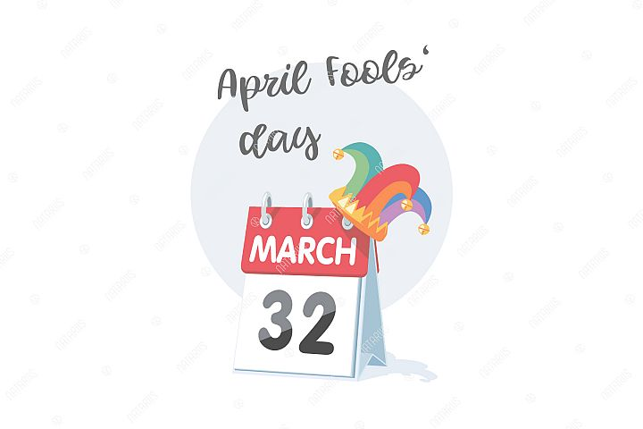April 1st. Fools Day. Funny illustration with calendar.