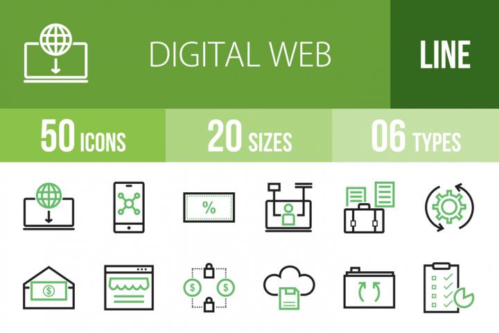 50 Digital Web Line Green & Black Icons