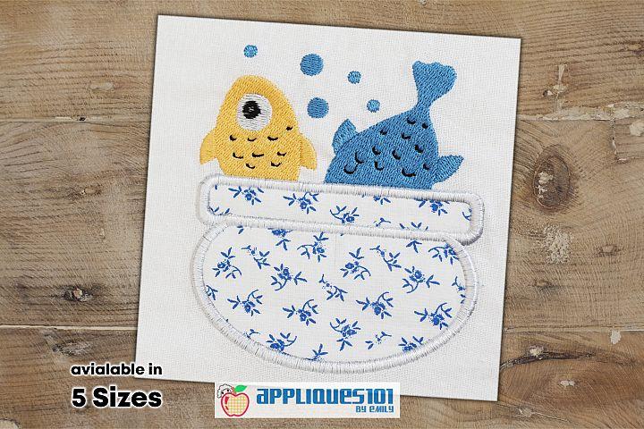 Fish Bowl Machine Embroidery Applique Design - Fishes