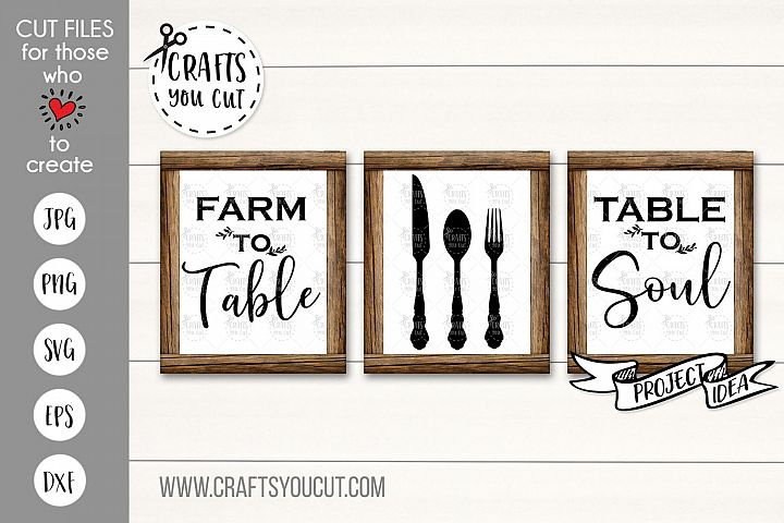 Farm To Table, Table To Soul Set- A Farmhouse Kitchen SVG