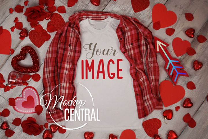 Womens White T-Shirt Styled Apparel Valentine Shirt Mockup