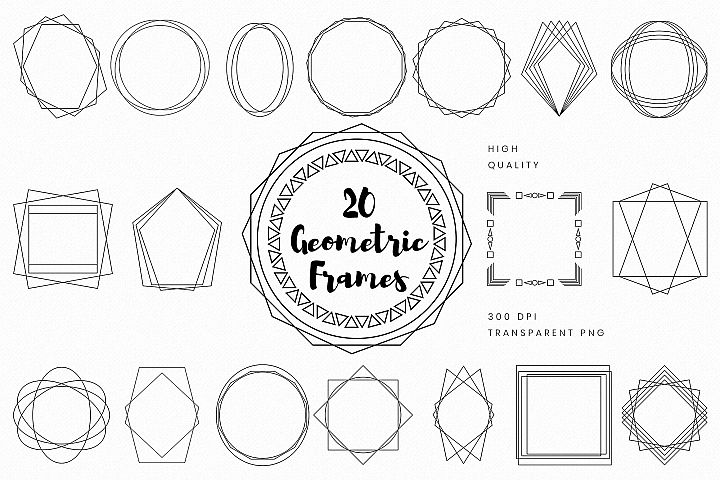 Black Geometric Frames Set PNG