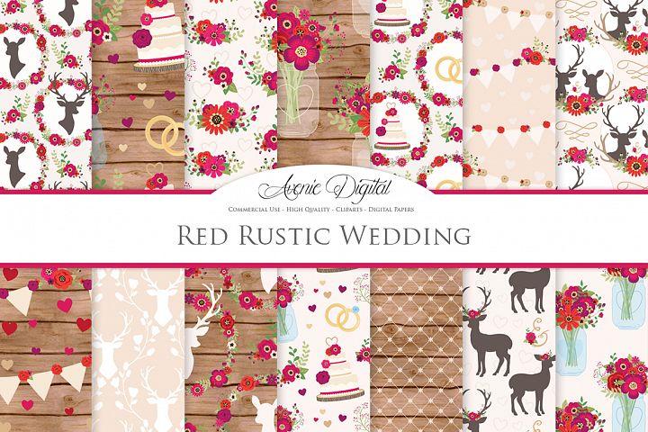 Red Wedding Digital Paper -  Red Rustic Wedding Deer Seamless Patterns