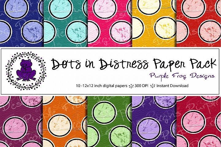 Distressed Dots Scrapbook Paper Pack Bundle Printable