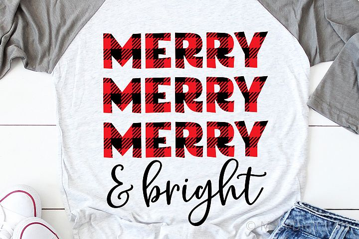 Merry and Bright Svg, Christmas Svg, Buffalo Plaid Svg File