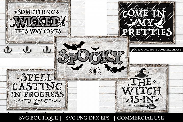 Halloween Sign SVG Bundle - Witch Trick Or Treat SVG PNG