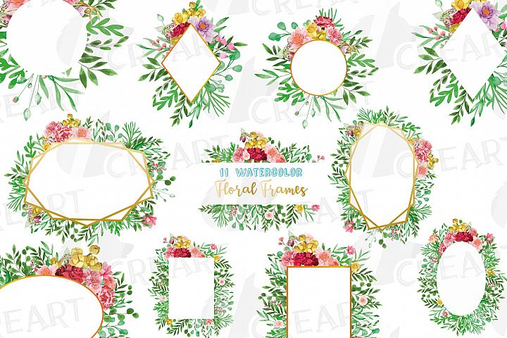 Watercolor floral floral frames and borders clip art pack