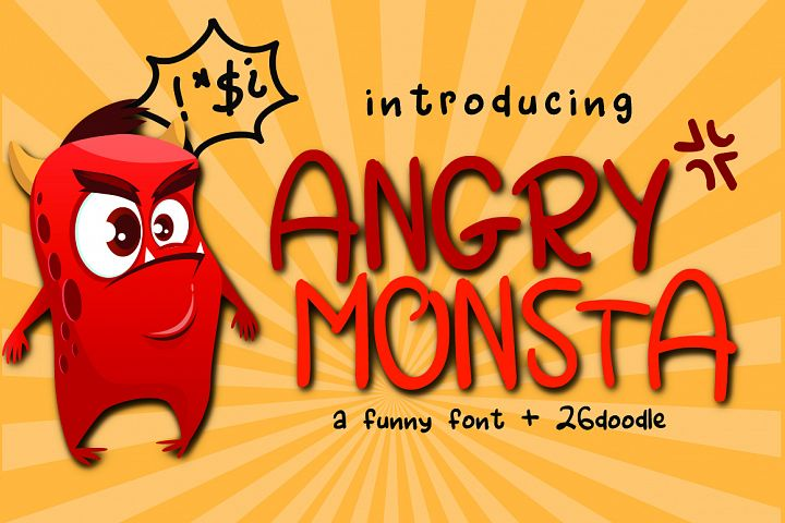 Angry Monsta - A Funny Font with doodles