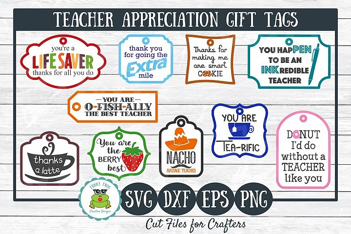 Teacher Appreciation Gift Tags-Print and Cut, SVG Cut Files