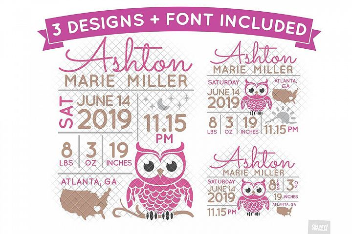 Owl Birth Stats SVG Announcement Template in SVG, DXF, EPS