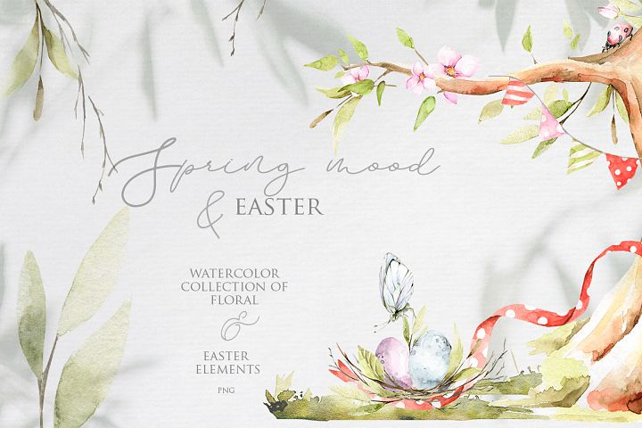 Spring mood & easter. Watercolor collection