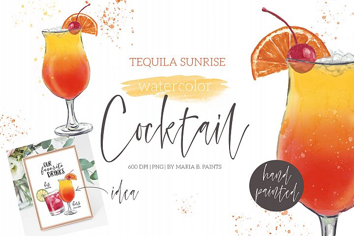 Tequila Sunrise Cocktail Watercolor Clipart Illustration