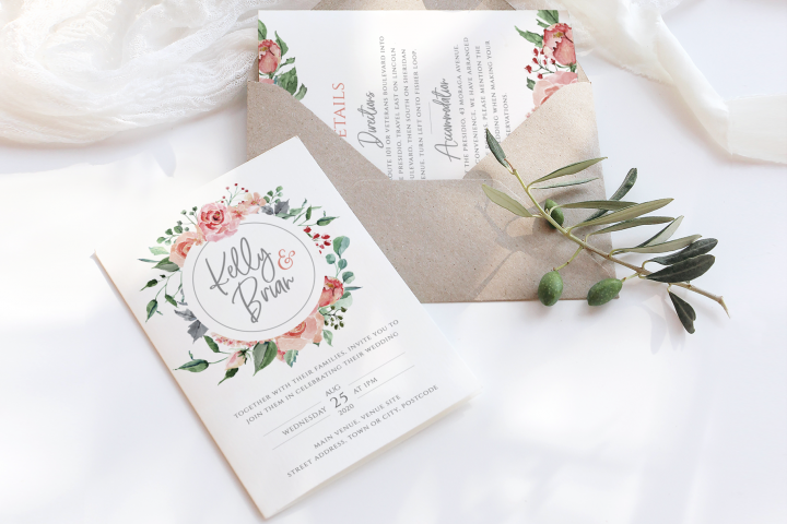Pink Floral Wedding Suite Template