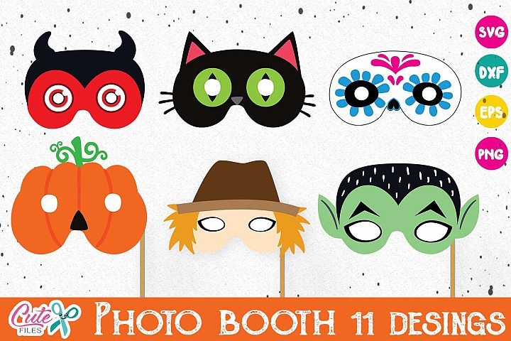 Halloween masks, props for kids, photo booth, svg files