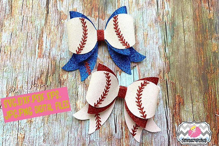 Baseball Hair Bow Template Glitter Hair Bow