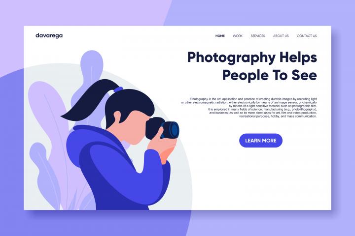 photography landing page flat design