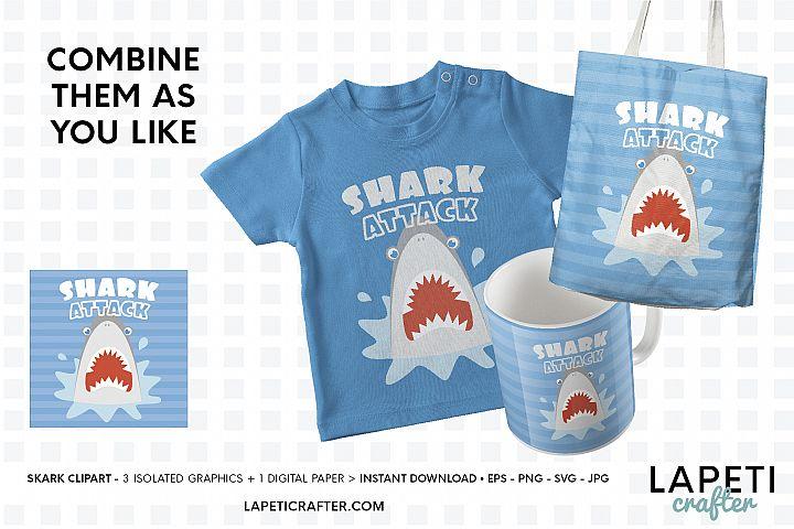 Shark attack clipart, shark head svg illustration for kids