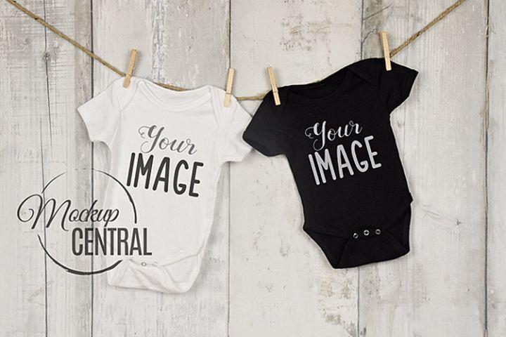 Twin Black & White Baby Onepiece Bodysuit Mockup Shirt JPG