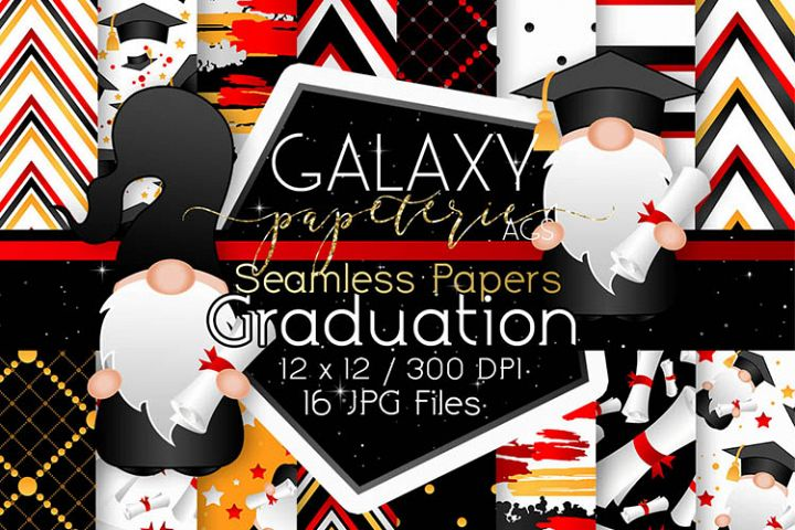 Gnome Graduation Digital Paper - Seamless Papers