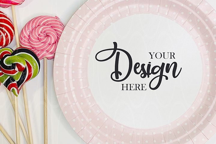 Pink Paper plate mockup Candies Styled Stock Photo Product