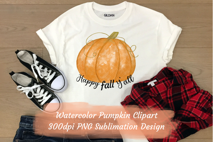 Happy Fall Yall Watercolor Pumpkin Sublimation Clipart