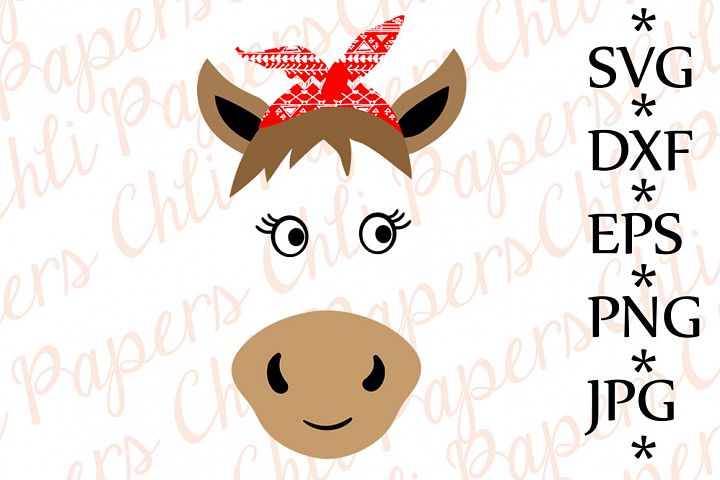 Horse with bandana Svg,Cute Horse Svg,Horse cut files,Kids Svg