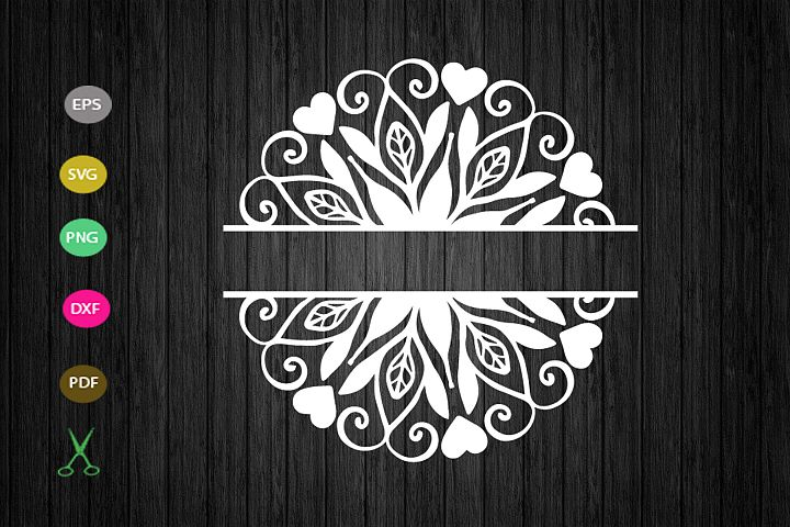 flower split mandala svg cut file, mandala monogram svg file