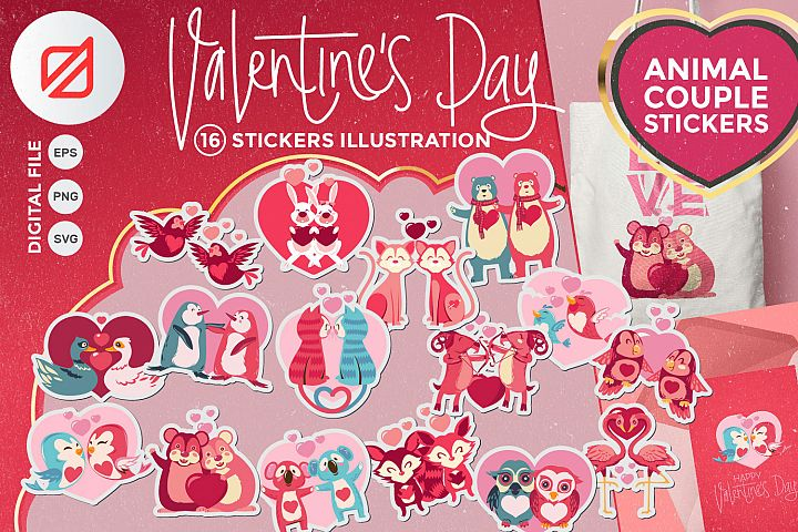 Valentines Day Animal Couple Stickers