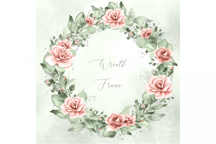 Watercolor Pink Rose Greenery Wreath SVG PNG Frame Clipart