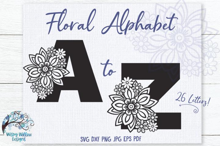 Floral Alphabet SVG Bundle | A to Z Floral Letters SVG