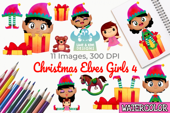 Christmas Elves Girls 4 Watercolor Clipart, Instant Download