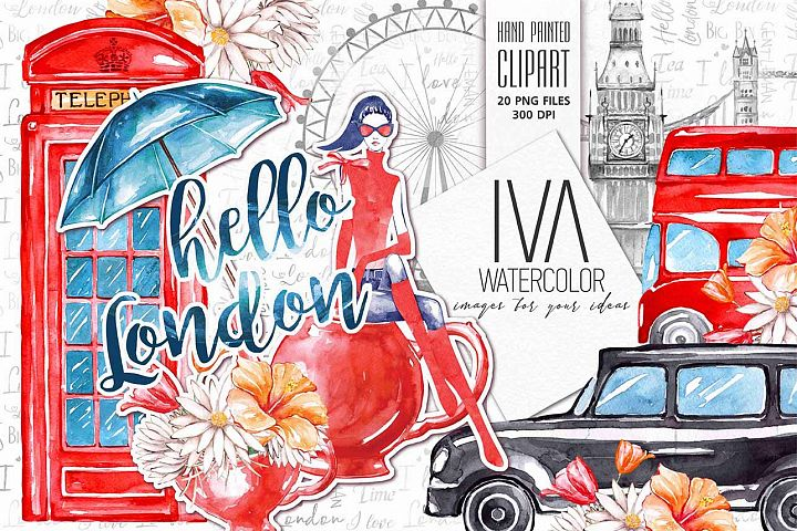 London Clipart, Travel watercolor Clipart