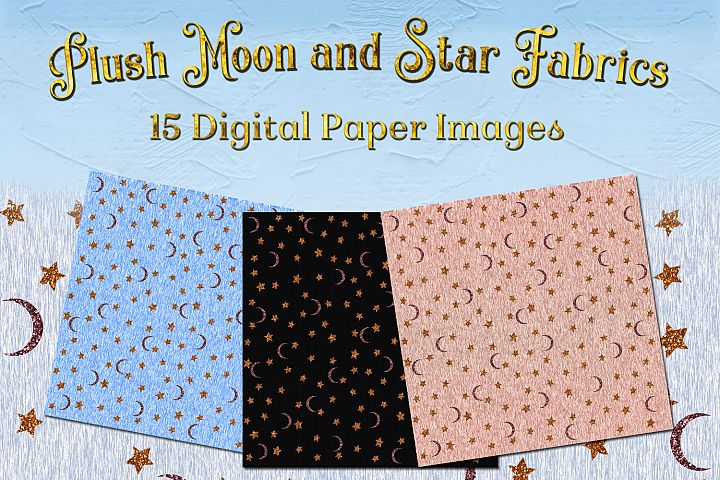 Plush Moon and Star Fabrics - 15 Digital Paper Backgrounds