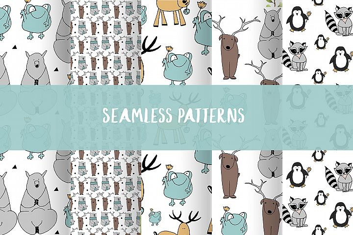 Animals & patterns for baby nursery Cute baby illustrations example 3