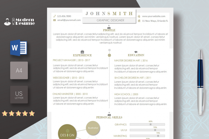Resume Template + Cover Letter for Microsoft Word | 100% Customizable | Instant Download