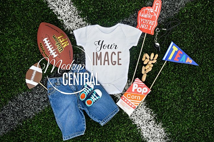 Baby Onepiece Bodysuit Football Team Sport Mockup Shirt JPG