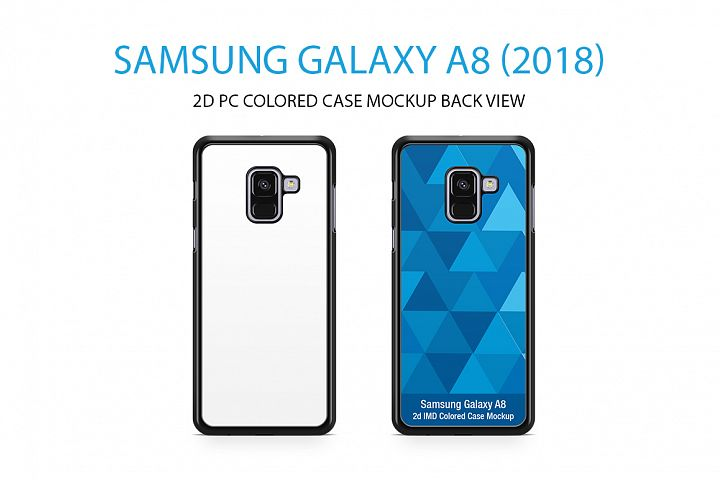 Samsung Galaxy A8 2D PC Colored Case Mockup Back View