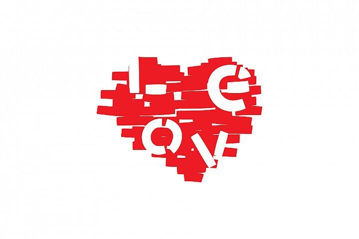 Love Heart. Print illustration. Valentines day poster.