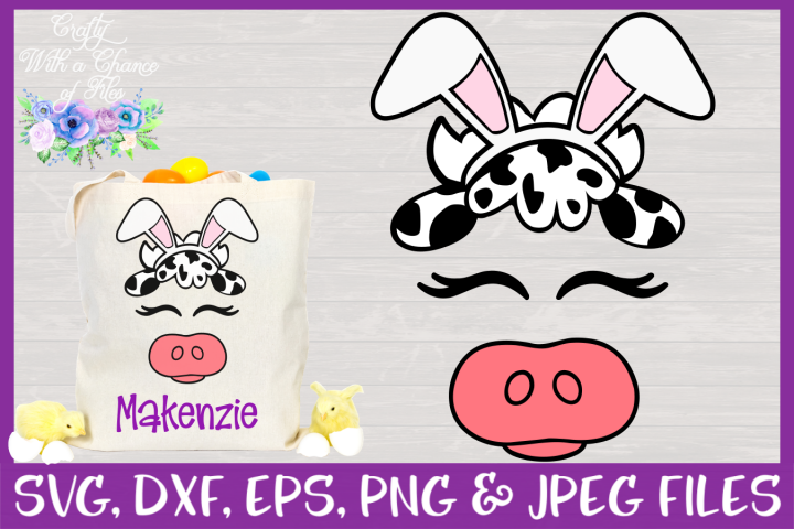 Cute Cow Face with Bunny Ears SVG - An Easter Design CWAC