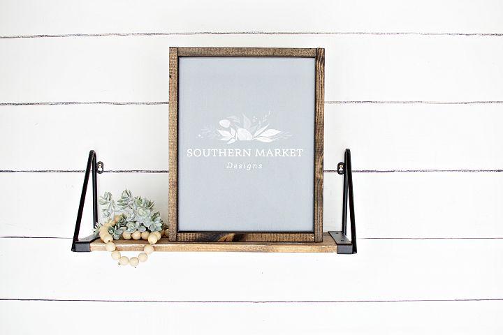 11x14 Gray Wood Framed Sign Digital Mock Up Styled Stock Pho