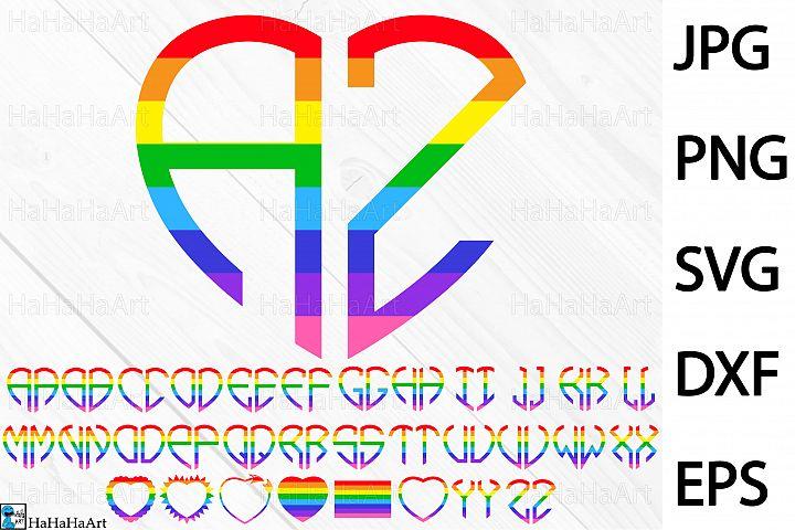 Rainbow Heart Alphabet - Clip art / Cutting Files 193c