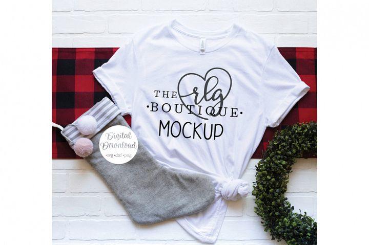 White Bella and Canvas Shirt Christmas Mockup