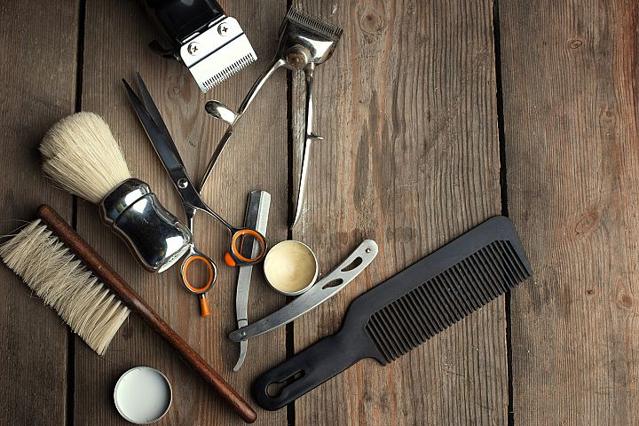 Barber shop wooden backgrounds JPG set example 3