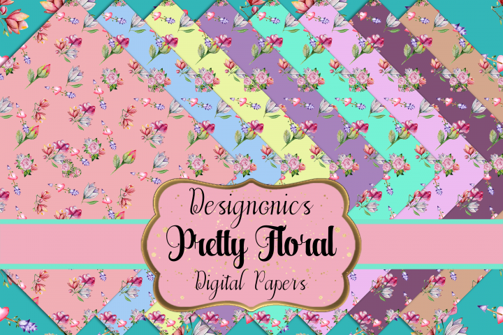36 Pretty Floral Digital Scrapbooking Papers Pack 18 Designs