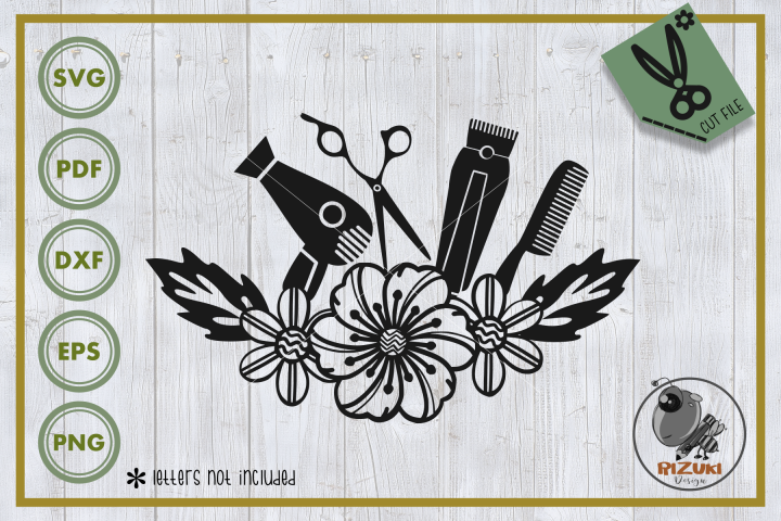Salon svg, salon equipment with flower,silhouette, Cut file