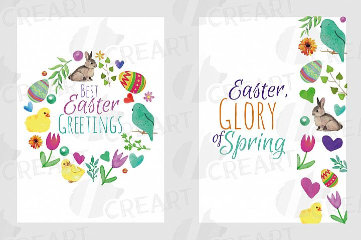 Easter greeting cards, 6 Happy Easter cards, colorful cards