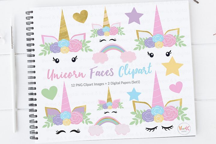 Unicorn Face Clipart, Unicorns Clipart, Gold Glitter Unicorns, Pastel Rainbow Unicorn Clipart, Rainbow Clipart, Unicorn Graphics, Unicorns