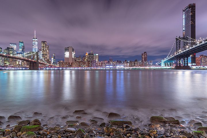 Night view from East river beach on Financial district