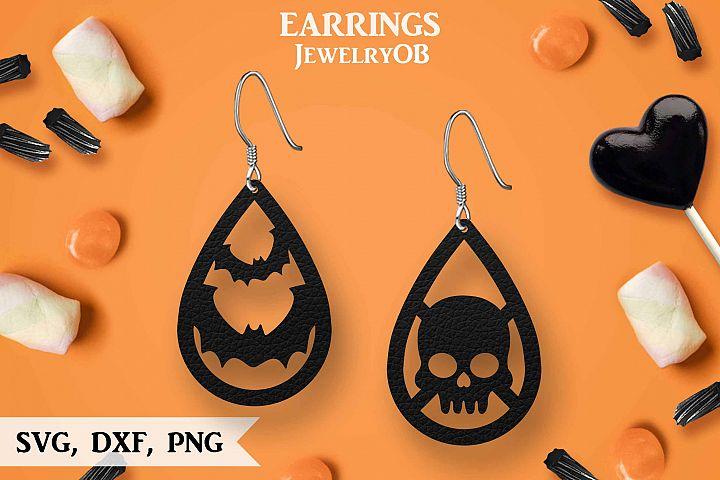 Halloween Earrings, Cut File, SVG DXF PNG Formats, Bat Skull