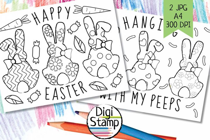 Bunny black outline, Coloring page, Bunny back Coloring
